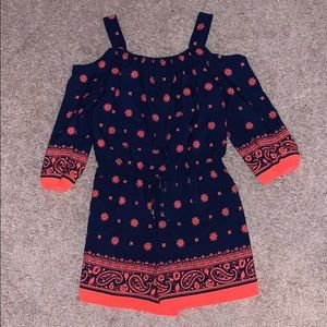 Girls Navy Blue and Orange Romper